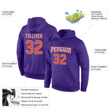 Load image into Gallery viewer, Custom Stitched Purple Orange-Gray Sports Pullover Sweatshirt Hoodie
