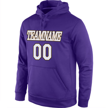 Custom Stitched Purple White-Old Gold Sports Pullover Sweatshirt Hoodie