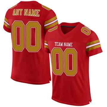 Custom Red Old Gold-White Mesh Authentic Football Jersey - Fcustom