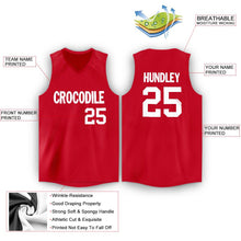 Load image into Gallery viewer, Custom Red White V-Neck Basketball Jersey - Fcustom