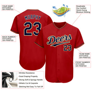 Custom Red Navy-Old Gold Authentic Baseball Jersey