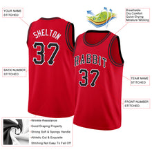 Load image into Gallery viewer, Custom Red Black-White Round Neck Rib-Knit Basketball Jersey