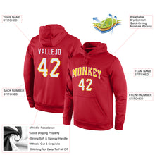 Load image into Gallery viewer, Custom Stitched Red White-Gold Sports Pullover Sweatshirt Hoodie
