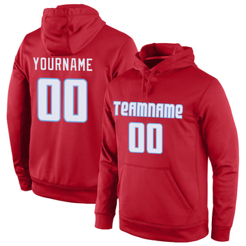 Custom Stitched Red White-Light Blue Sports Pullover Sweatshirt Hoodie