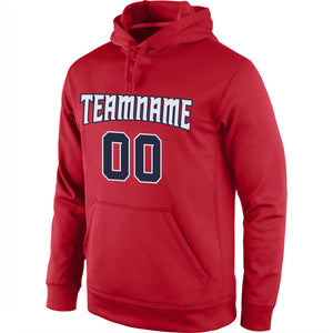 Custom Stitched Red Navy-White Sports Pullover Sweatshirt Hoodie