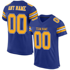 Custom Royal Gold-White Mesh Authentic Football Jersey