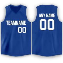 Load image into Gallery viewer, Custom Royal White V-Neck Basketball Jersey - Fcustom