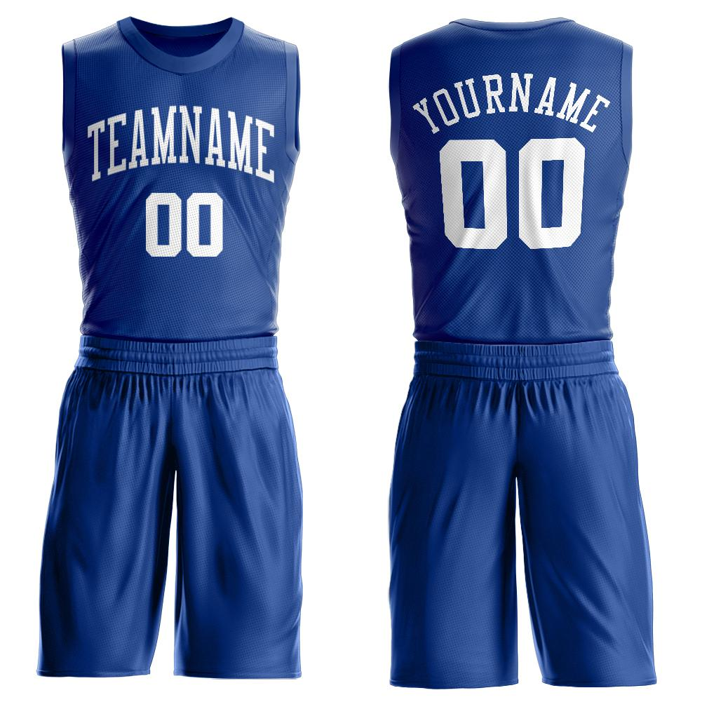 Custom Royal White Round Neck Suit Basketball Jersey - Fcustom