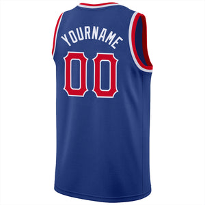 Custom Royal Red-White Round Neck Rib-Knit Basketball Jersey