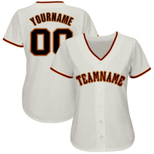 Load image into Gallery viewer, Custom Cream Black-Orange Baseball Jersey