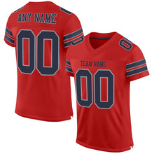 Load image into Gallery viewer, Custom Scarlet Navy-Light Gray Mesh Authentic Football Jersey