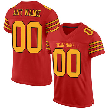 Custom Scarlet Gold-Black Mesh Authentic Football Jersey