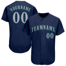 Load image into Gallery viewer, Custom Navy Gray-Aqua Baseball Jersey