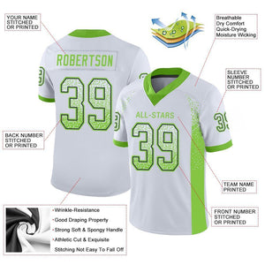 Custom White Neon Green-Navy Mesh Drift Fashion Football Jersey