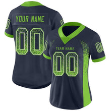 Load image into Gallery viewer, Custom Navy Neon Green-Gray Mesh Drift Fashion Football Jersey