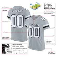Load image into Gallery viewer, Custom Silver White-Black Mesh Authentic Football Jersey