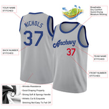 Load image into Gallery viewer, Custom Silver Gray Royal-Red Round Neck Rib-Knit Basketball Jersey