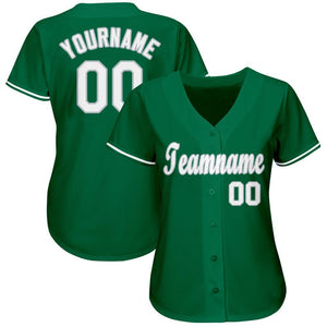 Custom Kelly Green White-Gray Baseball Jersey
