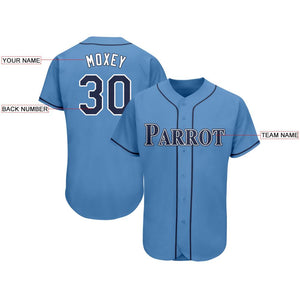 Custom Powder Blue Navy-White Baseball Jersey