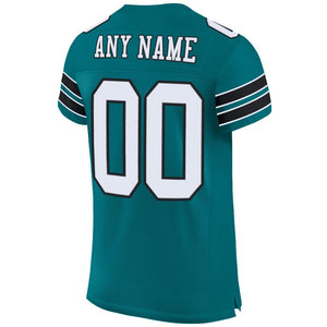 Custom Teal White-Black Mesh Authentic Football Jersey - Fcustom