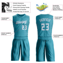 Load image into Gallery viewer, Custom Teal White Round Neck Suit Basketball Jersey - Fcustom
