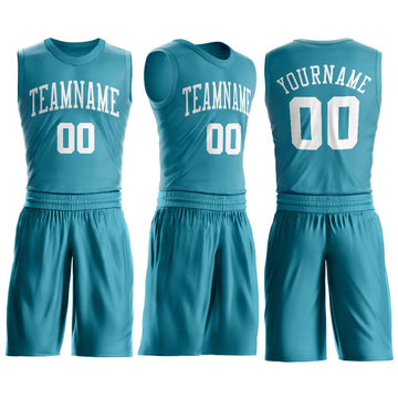 Custom Teal White Round Neck Suit Basketball Jersey - Fcustom