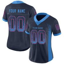 Load image into Gallery viewer, Custom Navy Powder Blue-Red Mesh Drift Fashion Football Jersey