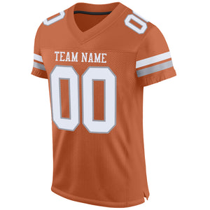 Custom Texas Orange White-Light Gray Mesh Authentic Football Jersey