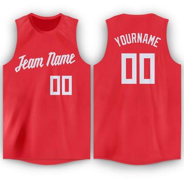 Custom Tomato White Round Neck Basketball Jersey