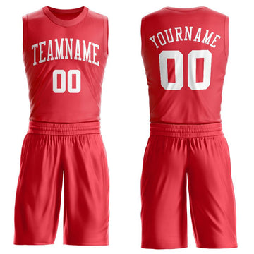 Custom Tomato White Round Neck Suit Basketball Jersey