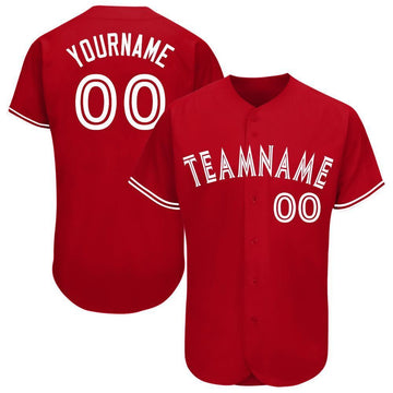 Custom Red White Baseball Jersey