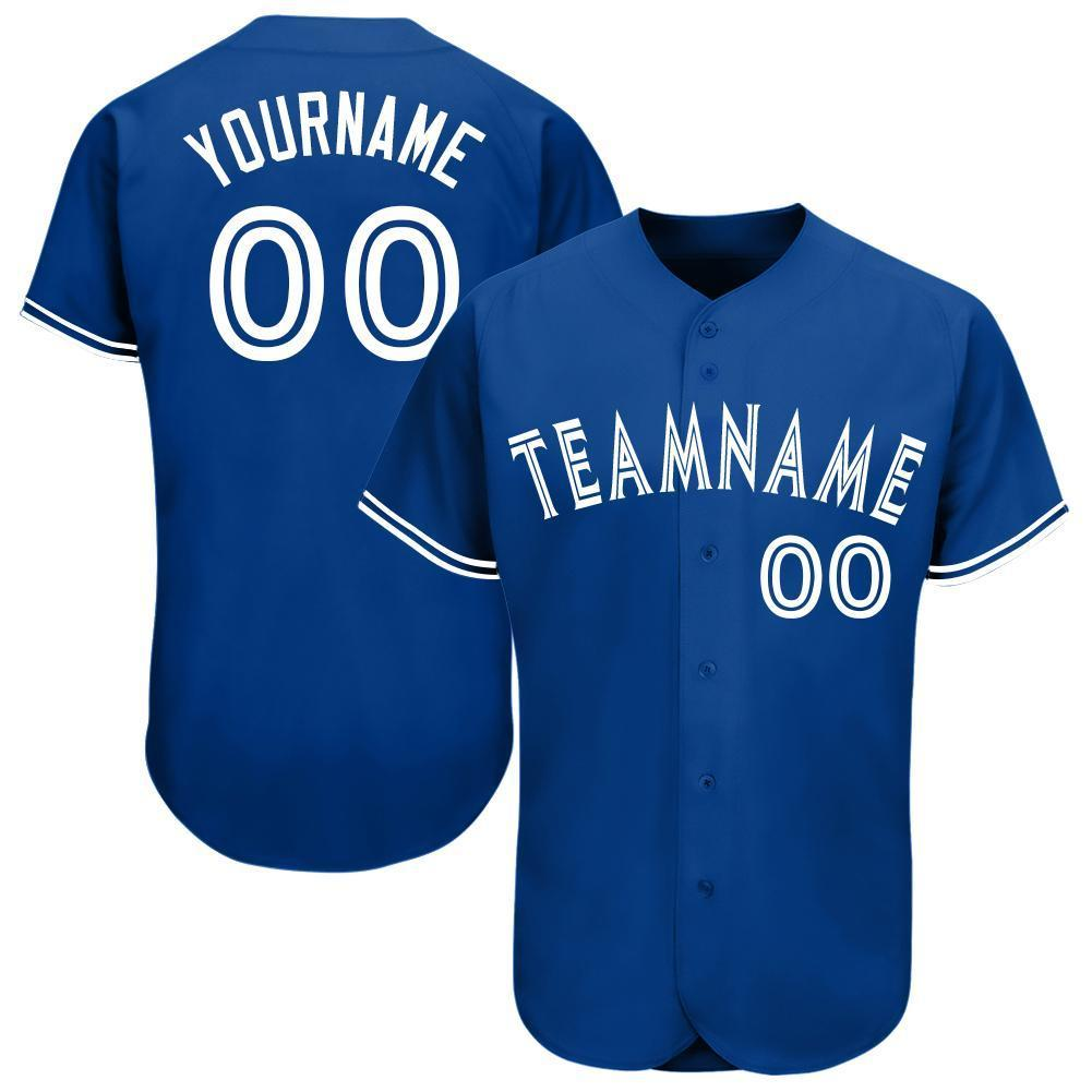 Custom Royal White Baseball Jersey
