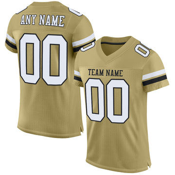 Custom Vegas Gold White-Black Mesh Authentic Football Jersey