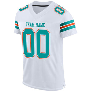 Custom White Aqua-Orange Mesh Authentic Football Jersey