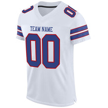Load image into Gallery viewer, Custom White Royal-Red Mesh Authentic Football Jersey