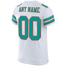 Load image into Gallery viewer, Custom White Aqua-Orange Mesh Authentic Football Jersey