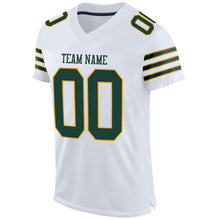 Load image into Gallery viewer, Custom White Green-Gold Mesh Authentic Football Jersey
