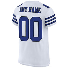 Load image into Gallery viewer, Custom White Royal-Black Mesh Authentic Football Jersey