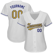 Load image into Gallery viewer, Custom White Old Gold-Royal Authentic Baseball Jersey