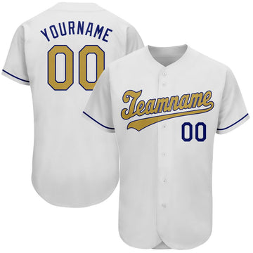 Custom White Old Gold-Royal Authentic Baseball Jersey