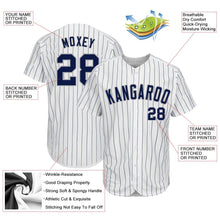 Load image into Gallery viewer, Custom White Navy Strip Navy-Gray Authentic Baseball Jersey