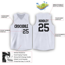 Load image into Gallery viewer, Custom White Black V-Neck Basketball Jersey - Fcustom