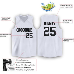 Custom White Black V-Neck Basketball Jersey - Fcustom