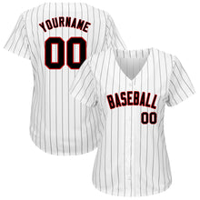 Load image into Gallery viewer, Custom White Black Strip Black-Red Authentic Baseball Jersey
