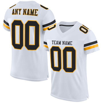 Custom White Black-Gold Mesh Authentic Football Jersey