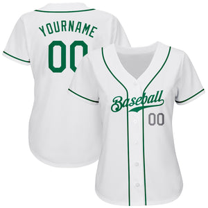 Custom White Kelly Green-Light Gray Authentic Baseball Jersey