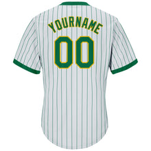 Load image into Gallery viewer, Custom White Kelly Green Strip Kelly Green-Gold Authentic Throwback Rib-Knit Baseball Jersey Shirt