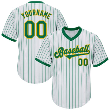Custom White Kelly Green Strip Kelly Green-Gold Authentic Throwback Rib-Knit Baseball Jersey Shirt