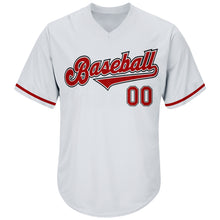 Load image into Gallery viewer, Custom White Red-Black Authentic Throwback Rib-Knit Baseball Jersey Shirt