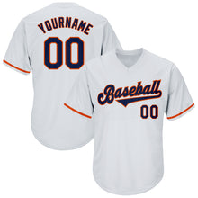Load image into Gallery viewer, Custom White Navy-Orange Authentic Throwback Rib-Knit Baseball Jersey Shirt